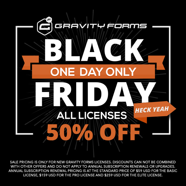 Gravity Forms Black Friday Sale