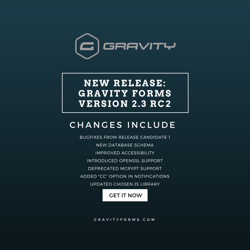 Gravity Forms 2.3 RC2 Release Announcement