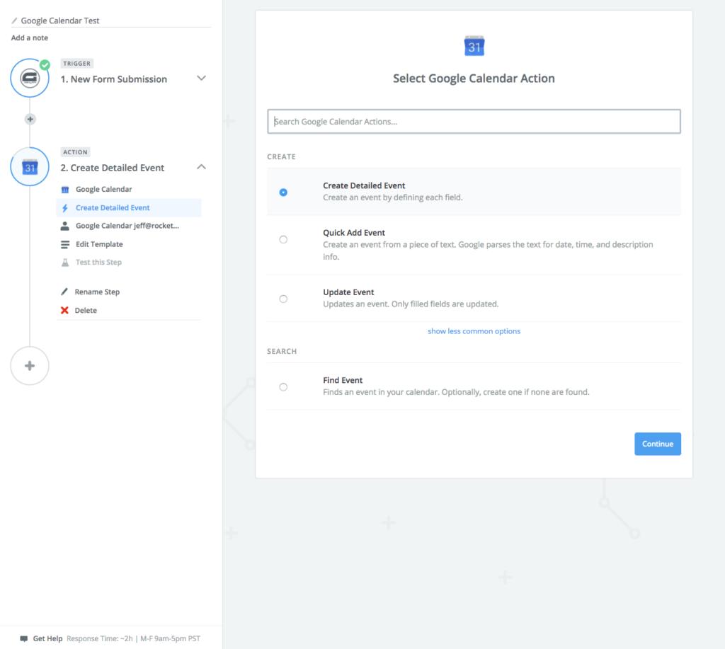 Google Calendar Action Step Screenshot