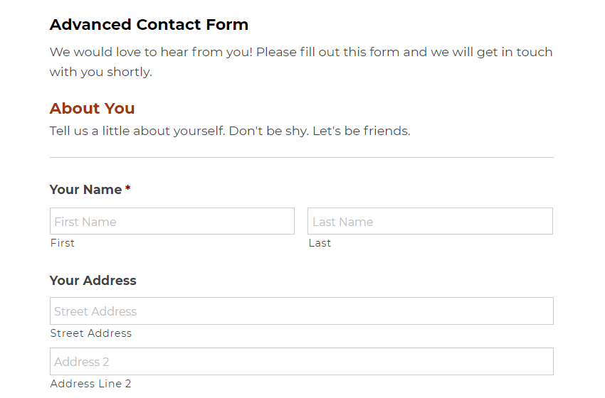 An example of a contact form.