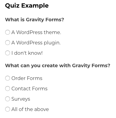 An example of a quiz.
