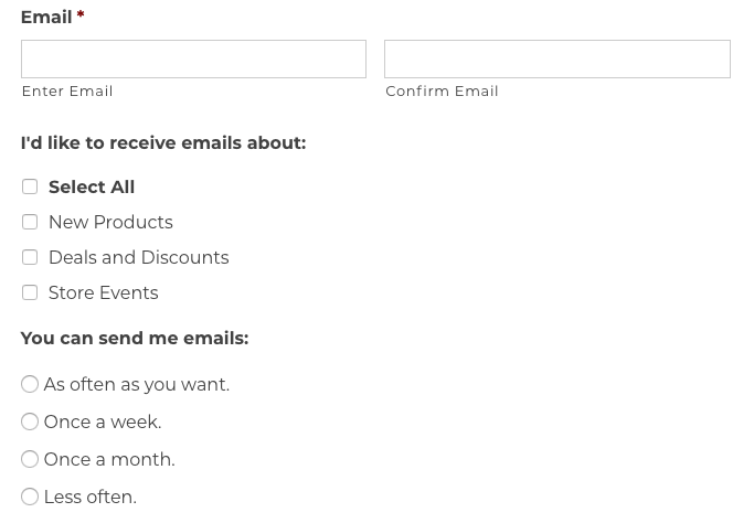 An email subscription form.