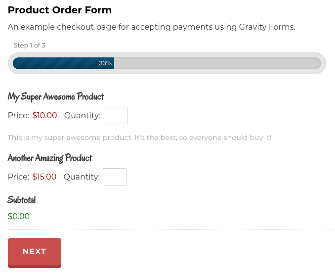 A product check-out form.